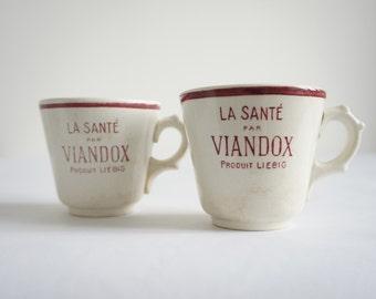 Tasses à café vintage, tasses Viandox vintage, objet publicitaire, vintage français