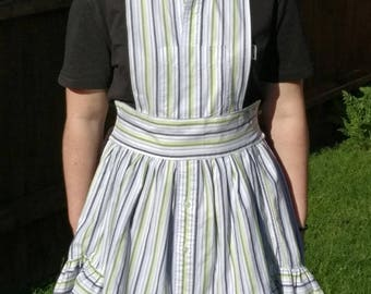 Green, blue and white striped apron