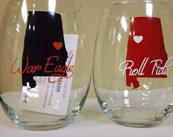 Auburn / Alabama House Divided Stemless Wine Glass Set of 2