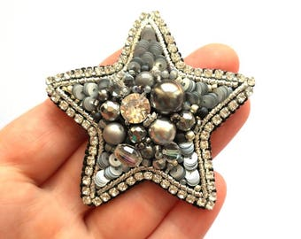 Star Brooch, Silver Star, Beadwork, Handmade Jewelry, Embroidered Pin, Sequins Brooch, Beaded Brooch, Silver Brooch, Swarovski Brooch