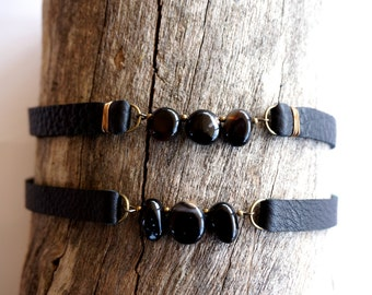 Black Agate Choker - Black Leather Gemstone Choker -Agate Collar Necklace -Black Choker Necklace -Grunge Jewelry -Grunge Choker -Dark Choker