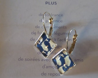 """Whale"" square earrings"