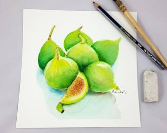 Green figs, watercolor, still life, original painting, OOAK, wall art, home office decoration for kitchen or restaurant,special gift for her