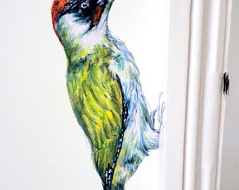 Woodpecker wall decal, bird home decor, bird decals, green woodpecker, vinyl wall art, woodland nursery decor, bird wall sticker