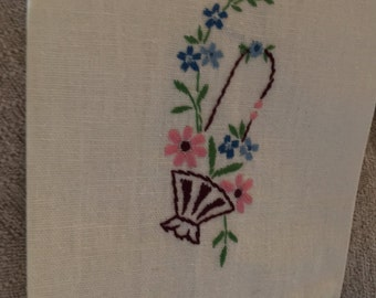 Lovely French Linen Tea Towel with Delicate Embroidered Flower Basket and Edging, c. 1930's