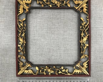 Antique photo frame, wood carved photo frame, Chinese vintage, antique item. #1710#