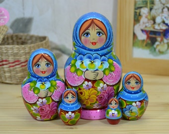 Matryoshka doll in blue shawl, Gift for woman, Handmade russian nesting dolls, Gift idea for daughter, Wooden hand painted art doll