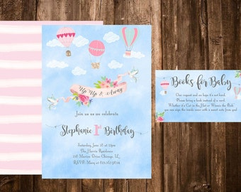 Hot Air Balloon Invitation, Hot Air Balloon Birthday, Up Up And Away Birthday Invitation, Oh the places youll go Invitation, Books for baby