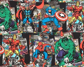 Marvel Super Hero Comic Book Fabric, Avengers Fabric, Spiderman, Hulk, Wolverine, Ironman, Captain America Fabric by the Yard