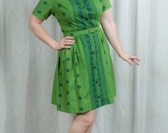 1960s Kelly Green Pattern Shirtdress - Medium
