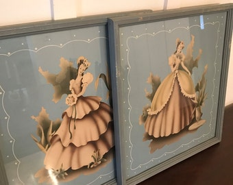 """Vintage Signed Turner Wall Art Large 17"""" by 19"""" Lithograph Prints Featuring Two Southern Belles in Blue Wood Frames 
