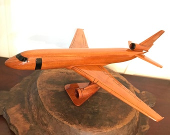 Vintage Large Handmade Wooden Boeing Model Airplane | Aviation Décor