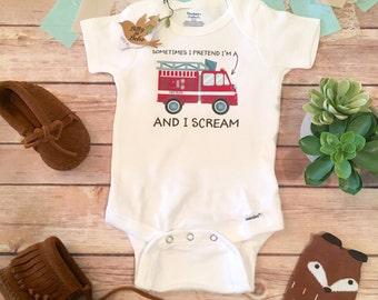 Firefighter Onesie®, Baby Boy Clothes, Baby Shower Gift, Funny Onesies, Firefighter Baby, Firetruck Shirt, Fire Truck Shirt, Fireman Baby