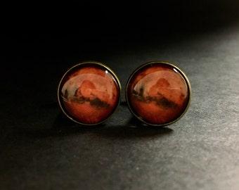 Mars Cuff links Suit Accessories - Planet Mars Cufflinks Suit Accessory - Planet Mars Accessories Cuff Links - Mars Planet Cuff Links