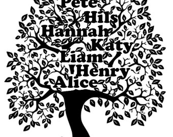 Personalized Family Tree Art Print. Wedding,  Birthday, Christmas or Anniversary Gift