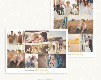 Collage Card Template, Thank You Card Template, Photography Templates, Photoshop Templates for Photographers, PSD template, collage card