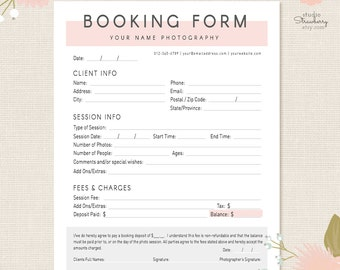 Photography Forms, Client Booking Form For Photographer, Photoshop Template  For Photographers, Photography Contract
