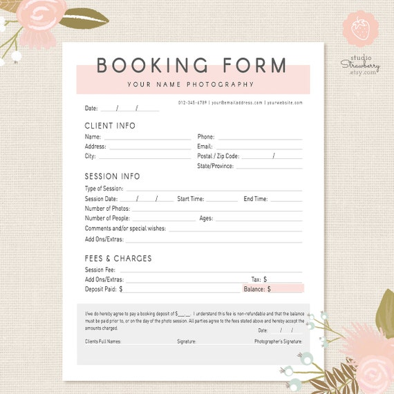 accommodation booking form template - photography forms client booking form for photographer