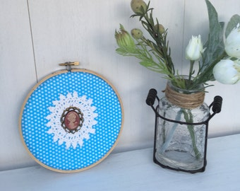 """Cameo Embroidery Hoop Art, Handmade Embroidery Hoop, Antique Style Decor, Shabby Chic Rustic Home Decor ~ 6"""" READY TO SHIP, Gifts under 25"""