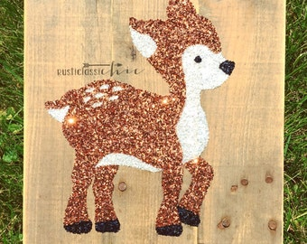 Deer Sign | Fawn Sign | Outdoor Nursery | Woodland Decor | Forest Creature | Enchanted Forest | Glitter Pallet Sign | Wall Decor | Baby Deer