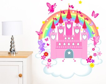 Fairy Castle, Rainbow, Flower & Butterfly Girl's Mural Wall Sticker - Children's Art Vinyl Decal Transfer - Designed by Rubybloom Designs