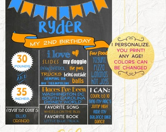 Boy Birthday Chalkboard, Second Birthday Chalkboard, Chalkboard Sign, Blue and Orange Chalkboard, 2nd Birthday, Milestones Poster, Digital