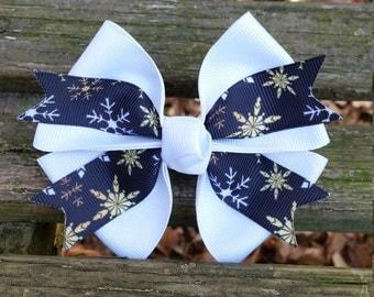 Snowflake Hair bow (4 inch)
