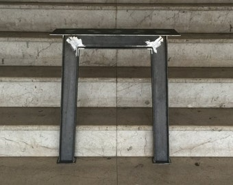 """28"""" I Beam Metal Table Legs, Industrial Steel Base, Width 24"""", Height 26"""" - 30"""" - Set of 2"""