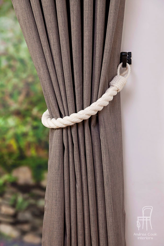 chunky ivory white cotton rope curtain tiebacks thick tie. Black Bedroom Furniture Sets. Home Design Ideas