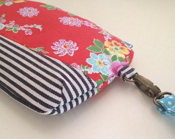 Red Floral and Denim Stripe Curvy clutch bag with wristlet with FREE Embroidered PERSONALISATION