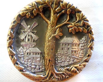 Antique Button~Victorian Tree of Life   1 5/8 inch