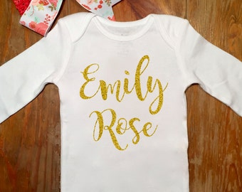 Personalized Baby Bodysuit- Baby Girl- Baby Gift- Monogrammed Bodysuit- Sparkly Gold- Vinyl Lettering- New Baby
