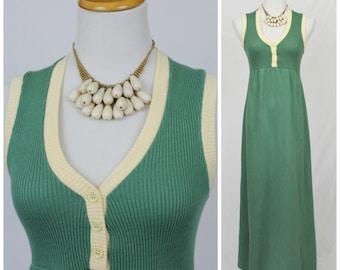 Vintage 70's Green Ringer Tee Sweater Ribbed Knit Maxi Dress Dress Boho Hippie Hubba Hubba San Francisco