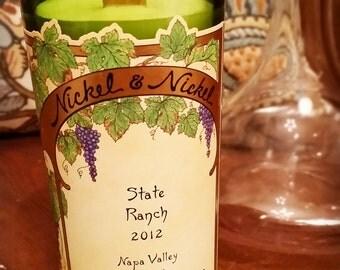Wine Bottle Candle - Nickel & Nickel - State Ranch (Yountville) - Cabernet Sauvignon - 2012 Vintage - Single Vineyard Wine