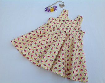 Baby dress, girls dress, yellow dress, girls clothing, floral, baby gift, Spring outfit, summer outfit, handmade