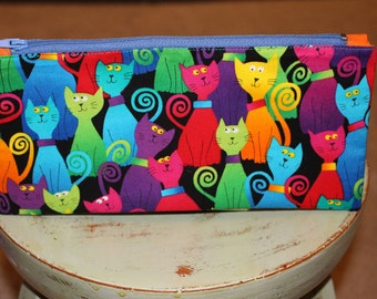 Handmade COLORFUL CATS Zipper Pouch -- Pencil Case -- Gadget Bag -- Knick Knack Pouch