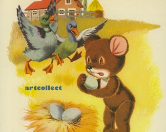 Vintage Children's Book Illustration (1974): Bear Ducks Fox