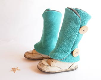 Leg warmers for children, turquoise blue, buttons wooden, 9 months to 4 years old, recycled fabrics