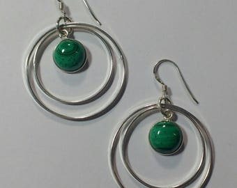 925 silver double ring with Malachite Earring