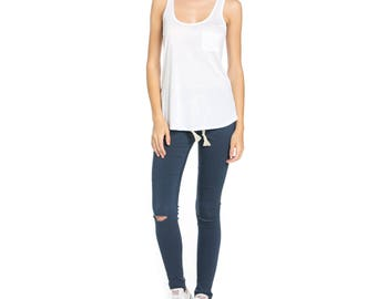 Fashionazzle Women's Solid  Soft Rayon Racer Back with Pocket Top