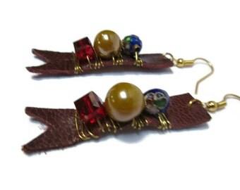 Dark Scarlet leather earrings / Leather earrings / Dangle earrings / Beaded earrings / Colorful earrings / Whimsical earrings / Red earrings