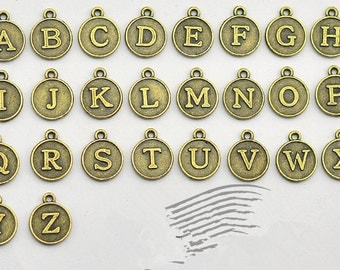 26 Alphabet Letter Charms Antique Bronze Round Initials 2 Sided