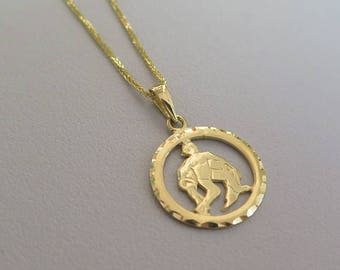14k Aquarius Necklace - Aquarius Necklace - Gold Aquarius Pendant - Gold Zodiac Necklace - Gold Zodiac Pendant - Gold Aquarius pendant
