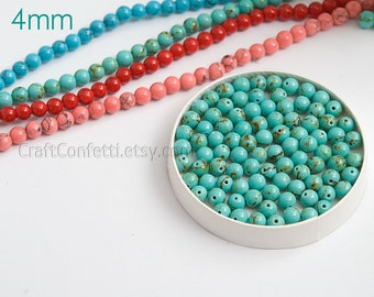 Turquoise howlite beads 4mm Turquoise beads Green beads for jewelry Beads jewelry supply  Synthetic beads / 20 beads About 3-4 cm