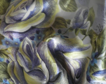 Vintage hand painted effect satin scarf with rose design, purple, lilac and violet hues
