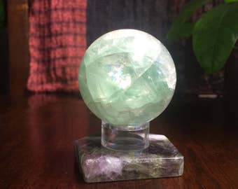 Top Grade Polished Fluorite Sphere with Acrylic Stand and Fluorite Base