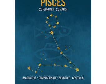 Birthday Card - Pisces Star Sign Astrology Zodiac Blue Blank Card CP3160