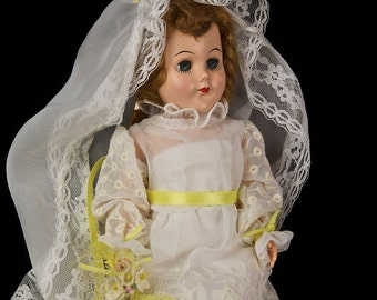 Vintage Celluloid Bride Doll in Perfect Mint Condition! Circa 1949!
