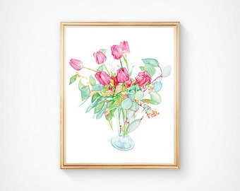 Still Life Pink Tulips in a Vase Watercolor Art Print, Flowers Still Life, Watercolor flower, Flower Bouquet, Watercolor Floral Painting