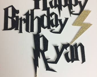Harry Potter Personalized Happy Birthday Cake Topper ~  lightning bolt ~ party ~ birthday ~ Personalized ~ Harry Potter